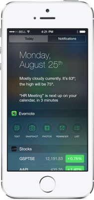 Evernote widget iOS 8