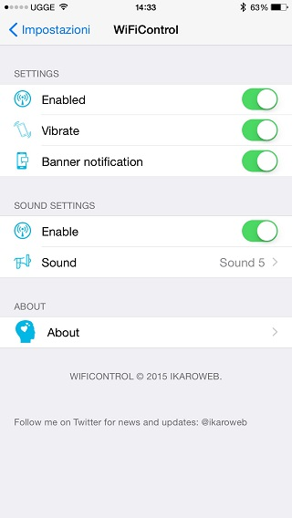 WiFiControl iOS 8 tweak