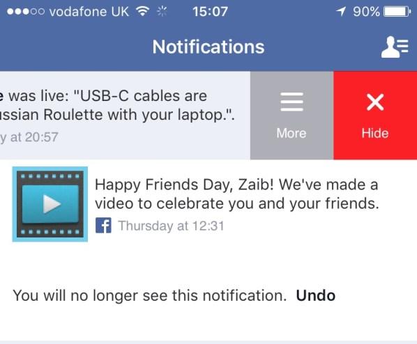 Facebook notifications hide