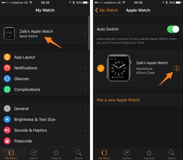 Apple Watch reset instructions