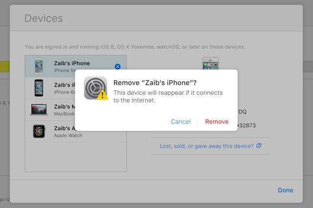 Remove devices iCloud