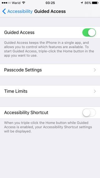 Guided Access Settings
