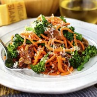 Sausage, Sweet Potato Noodles and Broccoli Skillet