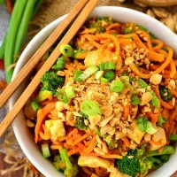 Thai Peanut Chicken and Sweet Potato Noodles