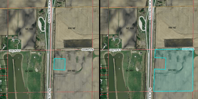 On left, highlighted, is the parcel owned by Consumers Energy Cooperative in rural Story County between Huxley and Cambridge. On right is the larger surrounding parcel still owned by Dakota Access. Images: Beacon