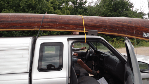 One of several times we stop to re-mount Lee's canoe. Photo: Gavin Aronsen/Iowa Informer