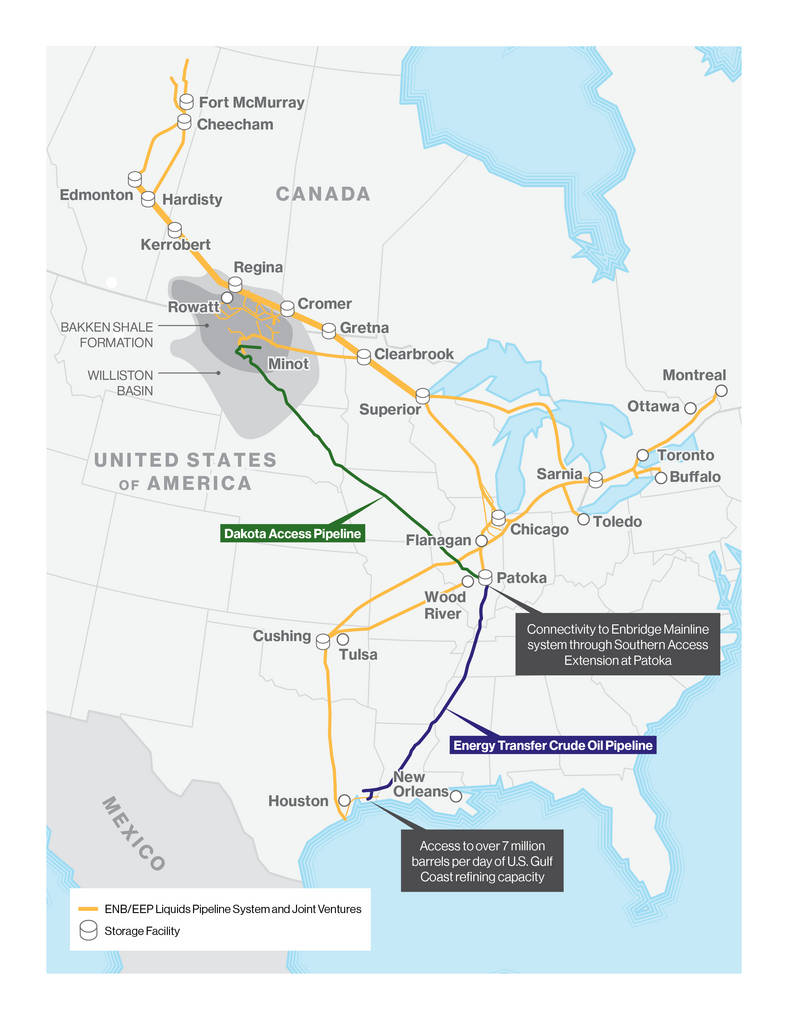 A Map Of Dakota Access And Energy Transfer Crude Oil Pipeline Routes Which Are Collectively