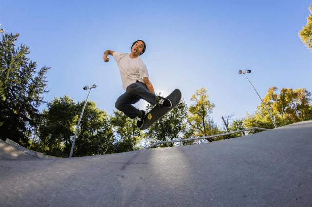 Tsushima at the Ames skate park. Photo: Josh Kelley