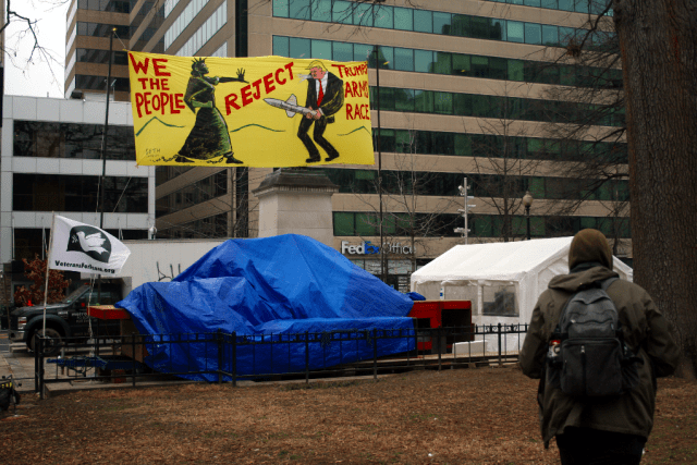 Friday at Franklin Square in downtown DC, where post-inauguration protest events were held. Photo: Gavin Aronsen/Iowa Informer