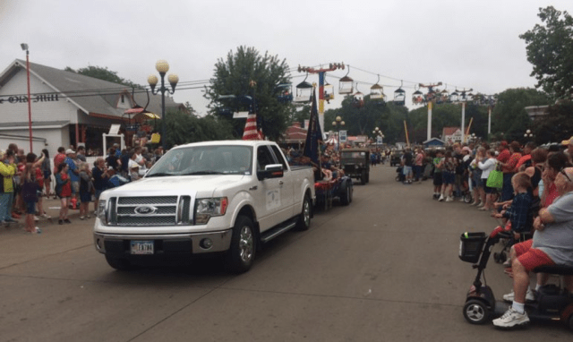 Victor Legion Post 54 entry in the veterans parade through the Iowa State Fairgrounds during the fair's veterans' day on Aug. 14. Photo: Lyle Muller/IowaWatch