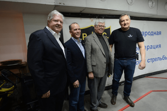Pete Brownell, second from left, with NRA Ring of Freedom Chairman Joe Gregory, to his left, former NRA President David Keene, to his right, and then-Russian Deputy Prime Minister Dmitry Rogozin during a 2015 trip to Moscow. Photo: @Rogozin/Twitter