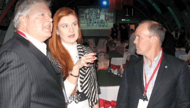 A photo posted online of the NRA's Joe Gregory, left, and Pete Brownell speaking with Maria Butina, the accused Russian spy and founder of The Right to Bear Arms, from the 2015 Moscow trip.