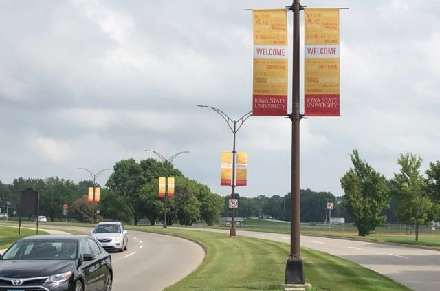 """Banners saying """"Welcome"""" in multiple languages at Iowa State University promoted inclusivity and acceptance as students returned to campus in August. Photo: Lauren Wade/IowaWatch.org"""