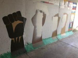 The University of Iowa unity mural, on Aug. 30. Photo: Lauren Wade/IowaWatch.org