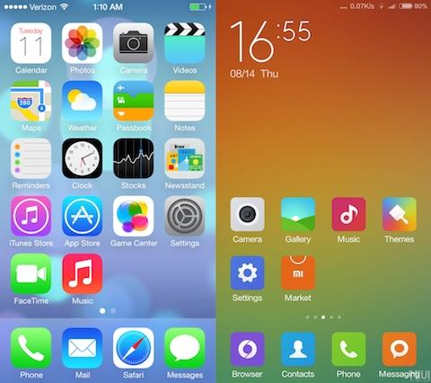 springboard MIUI 6 vs iOS 7
