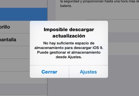 error imposible descargar actualización iOS 9