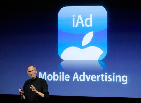 Apple Inc. CEO Steve Jobs speaks about the iAd mobile advertising platform at a special event at Apple headquarters in Cupertino