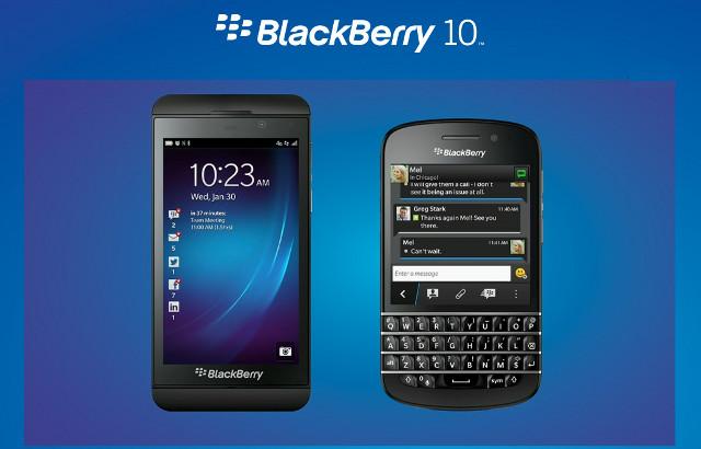 Das neu Z10 (ohne Tastatur) und das Q10 mit OS Blackberry 10