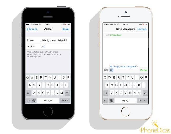 criando atalho no teclado do iphone no ios 7