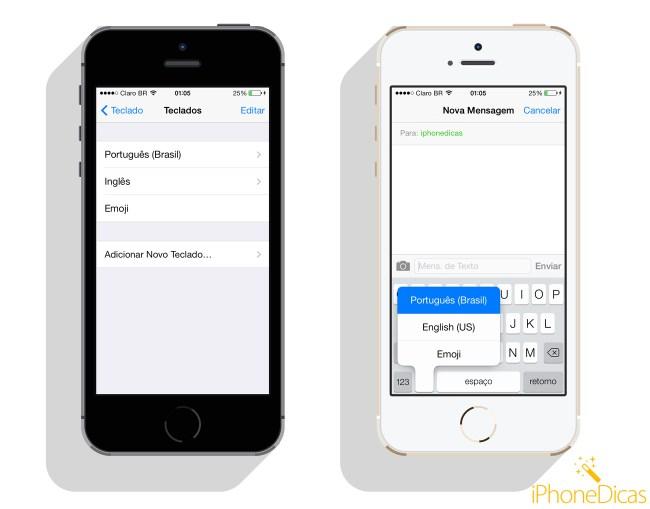adicionar teclado iphone ios 7 emoji emoticons ingles