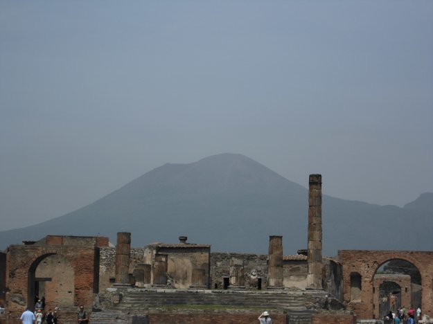 pompeii, italy with vesuvius in the background