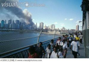 September 11 2001 View from Manhattan bridge after both WTC towers have collapsed