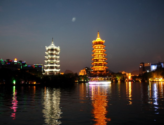 sun and moon twin pagodas night guilin china