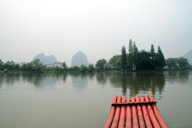 Fanglian pool bamboo raft ride outside Reed Flute Cave in Guilin China