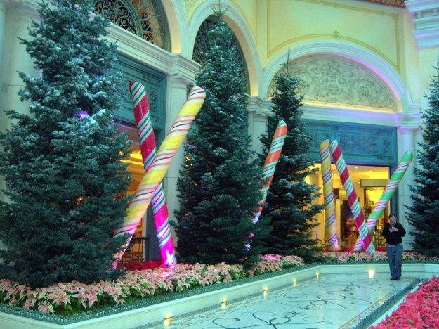 Bellagio Christmas conservatory candy canes Las Vegas Nevada