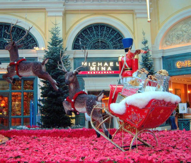 Bellagio Christmas conservatory reindeer and sleigh Las Vegas Nevada