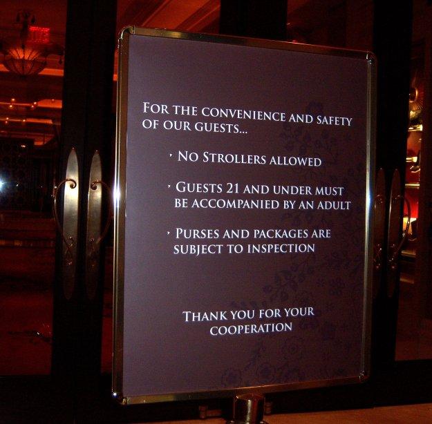 Encore Las Vegas no strollers