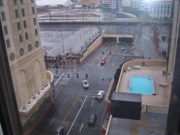 California Hotel Las Vegas room view in the rain