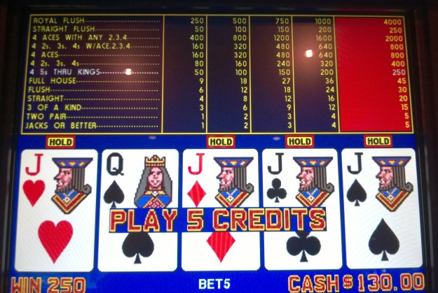 quarter jacks video poker win