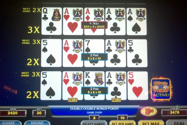 aces with 3x ultimate x video poker