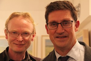 Frank O'Dea of the Balla Ban Gallery with Eamon Ryan of the Green Party at the exhibition opening (photo Liam Madden)