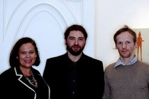 Mary Lou McDonald TD, Ronan O'Reilly and Lorcan MacMathúna at the exhibition opening