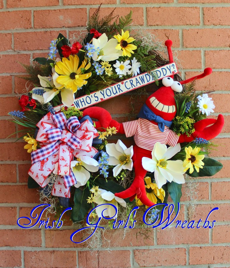Who's Your Crawdaddy Wreath- Red, White & Blue