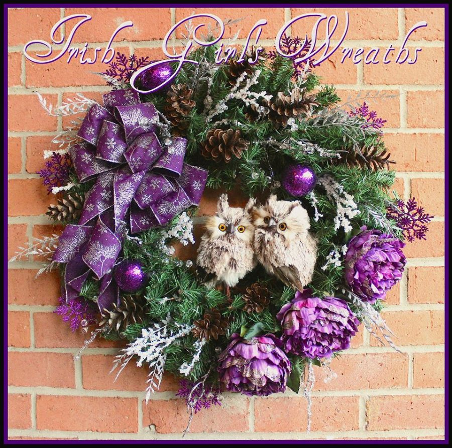 Custom Purple and Silver Winter Owl Wreath for Kim