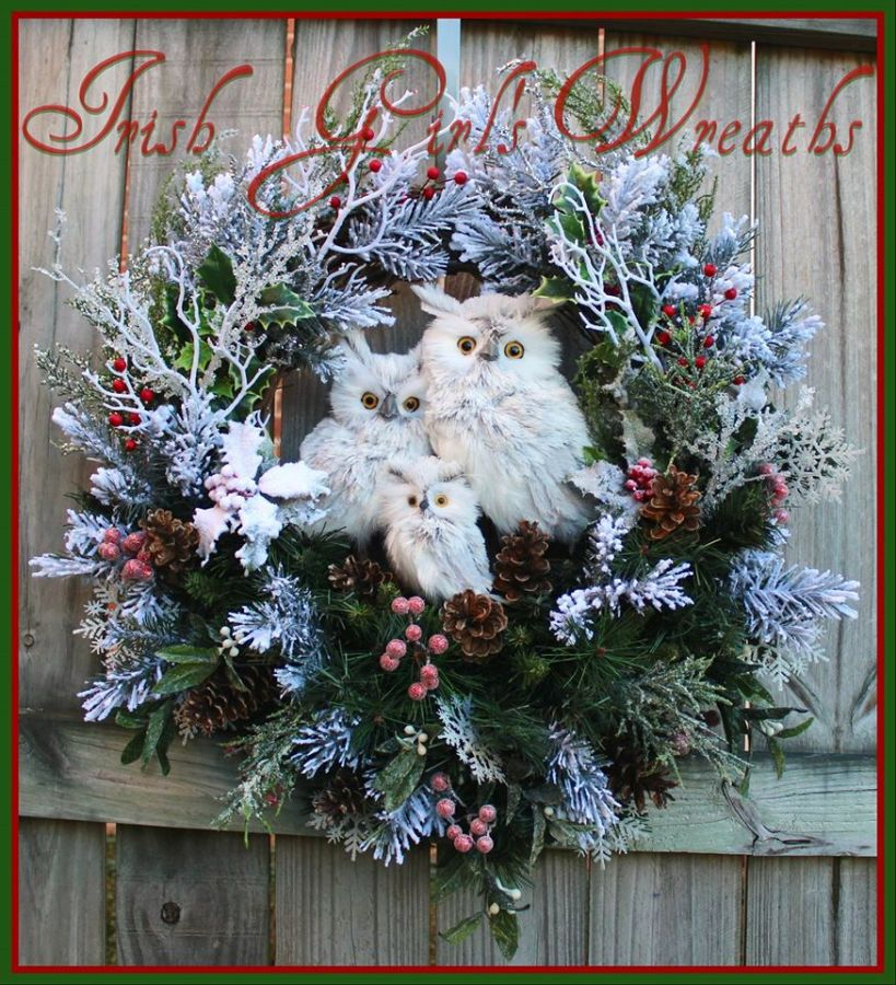 Gray Winter Owl Family Christmas Wreath for Nancy