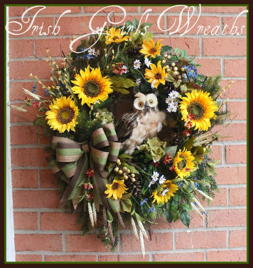 Rustic Sunflower Everyday Owl Wreath