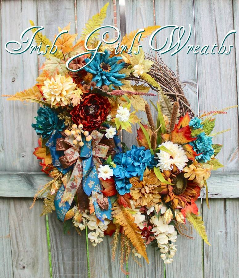 Rustic Fall Teal Rust and Ivory Wreath
