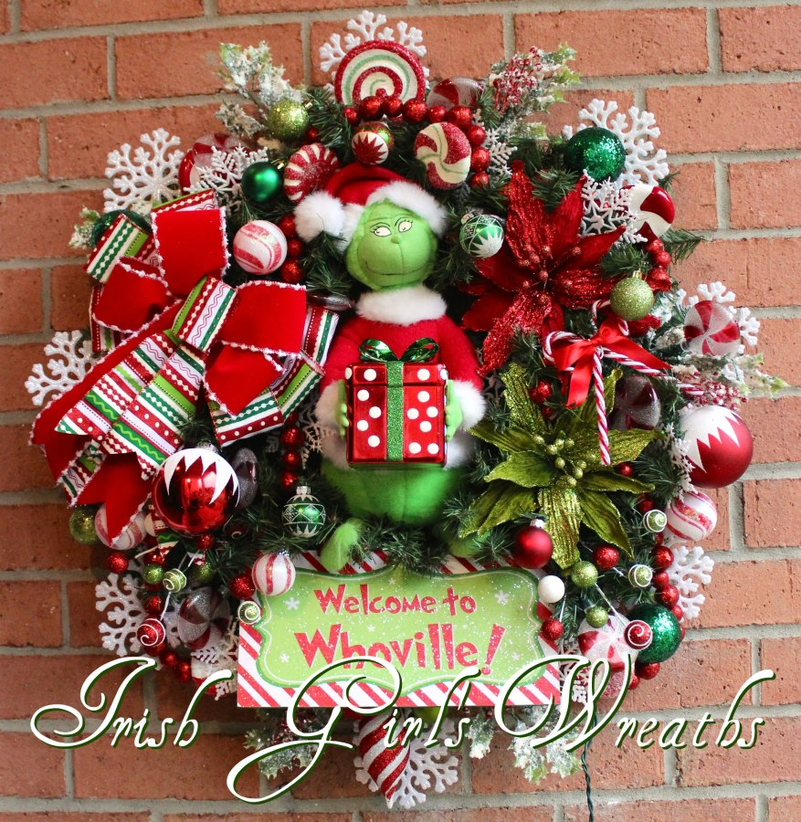 Welcome to Whoville Grinch Christmas Wreath