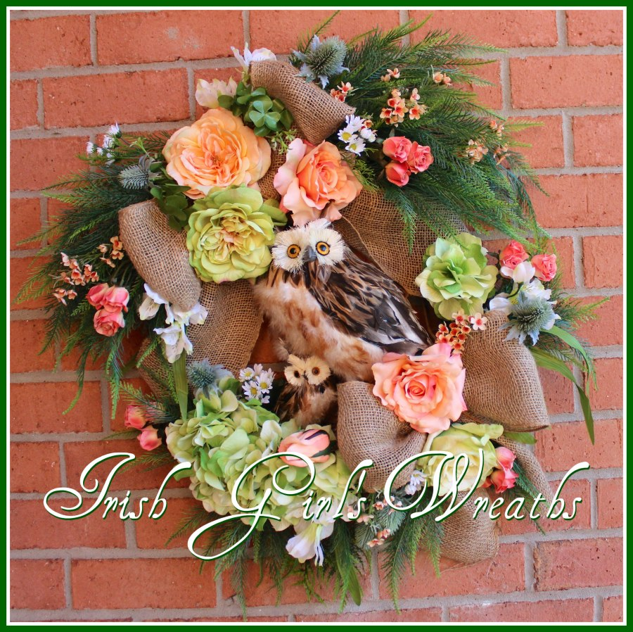 Spring Peach Mother & Baby Owls Wreath for Laura
