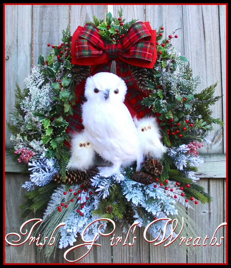 MADE To ORDER - XL Snow Owl Family Winter Christmas Wreath