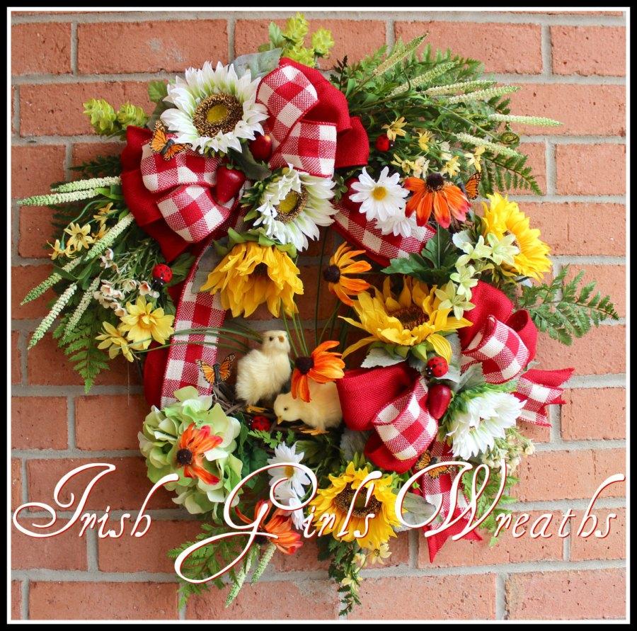 Springtime on the Farm Baby Chicks & Sunflowers Wreath, Summer