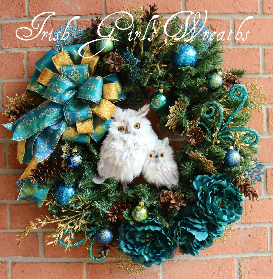 Peacock Teal and Gold Owl and Baby Christmas Wreath