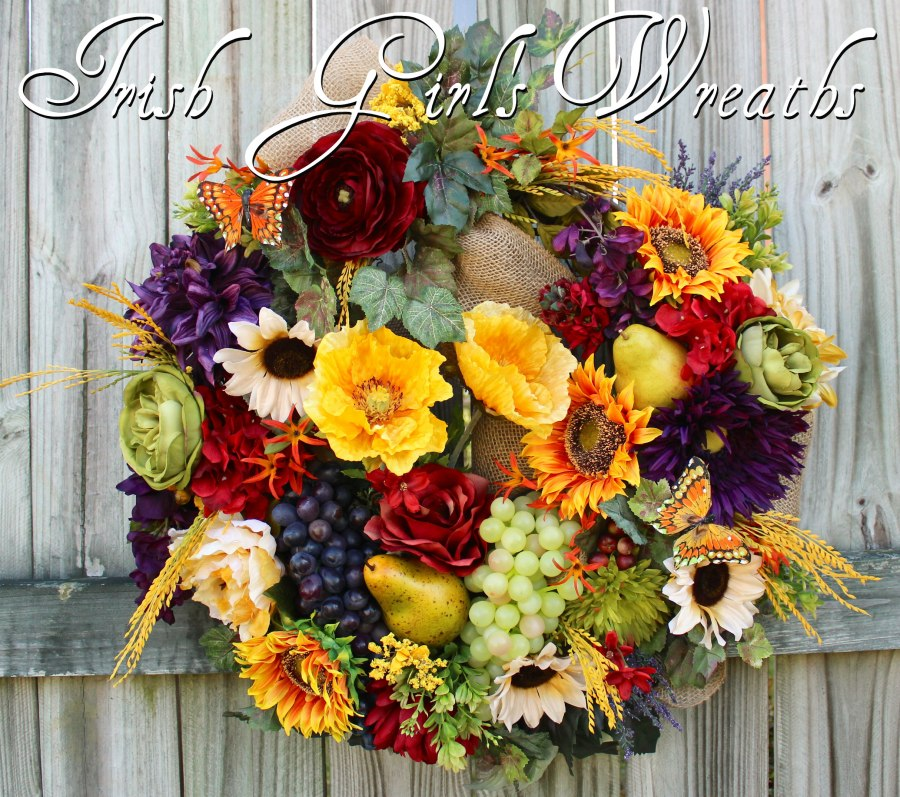 tings Deluxe Tuscan Wreath, Poppy and Sunflower French Country Wreath