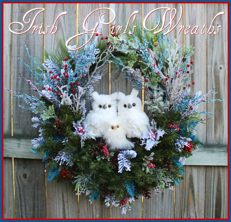 White Snow Owl Family Turquoise & Red Winter Wreath