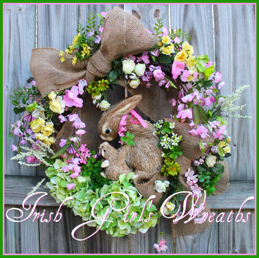 MADE TO ORDER Cherry Blossom Rambling Rose Bunny Rabbit Spring Wreath, mother & baby, Easter, pink, yellow, clover, Mother's Day, hydrangea