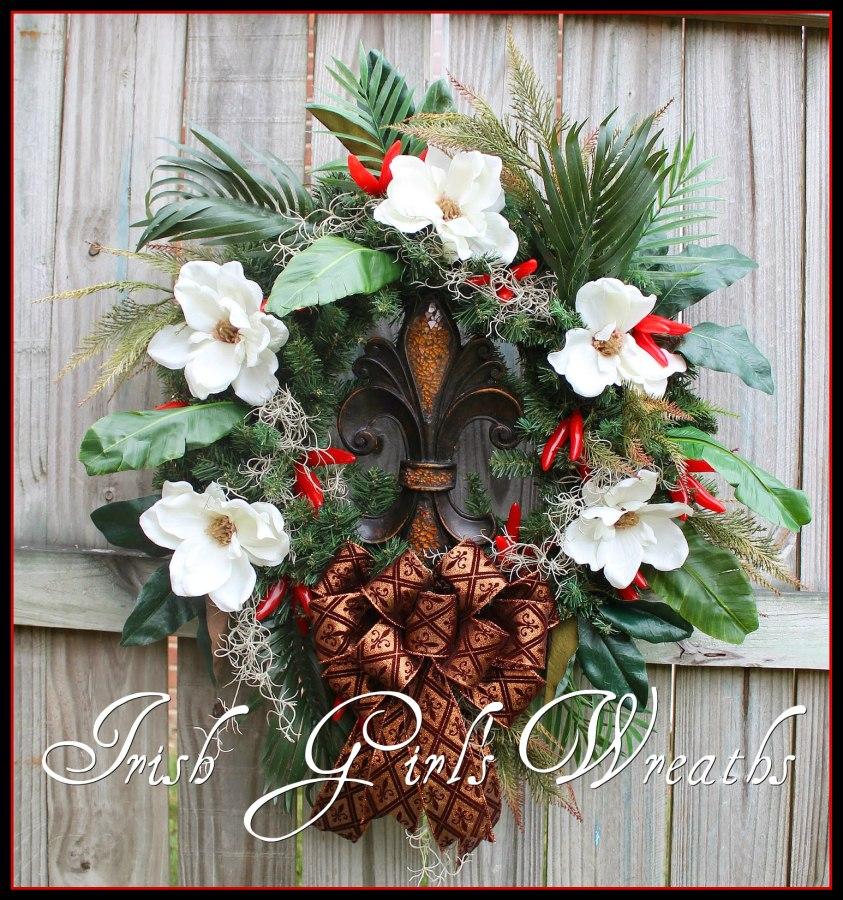 Everyday Louisiana Fleur de Lis and Magnolia Wreath